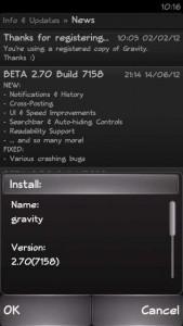 [Update] Gravity Beta 2.70 Build 7158 | Twitter Client Symbian