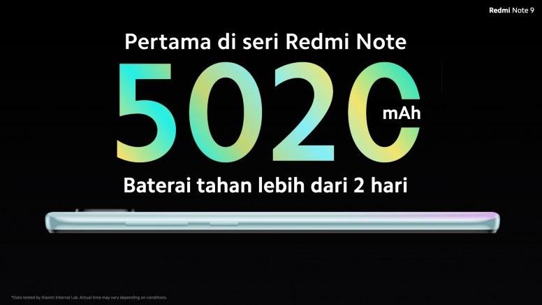 Kapasitas Baterai Redmi Note 9